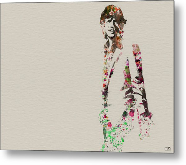 Mick Jagger Watercolor Metal Print