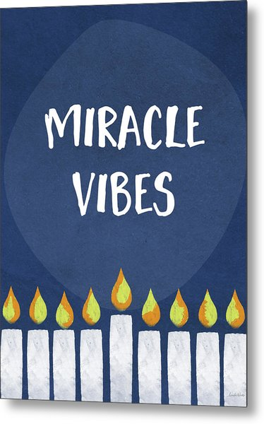 Miracle Vibes- Hanukkah Art By Linda Woods Metal Print