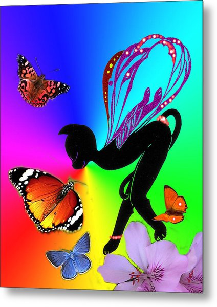 Miss Fifi And Butterflies Metal Print by Silvia  Duran