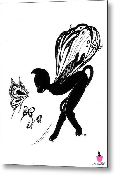 Miss Fifi Is Given Wings Metal Print by Silvia  Duran