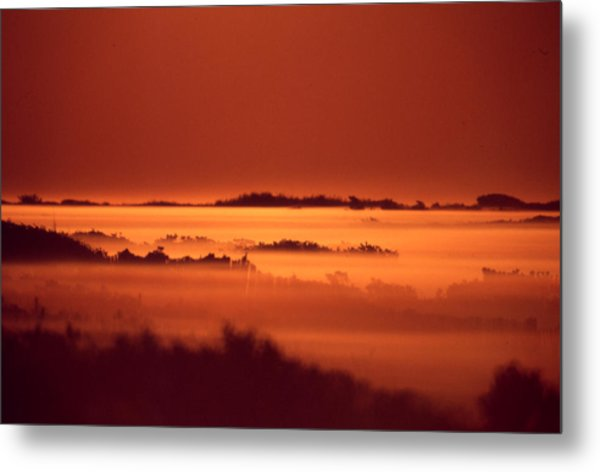 Misty Meadow At Sunrise Metal Print