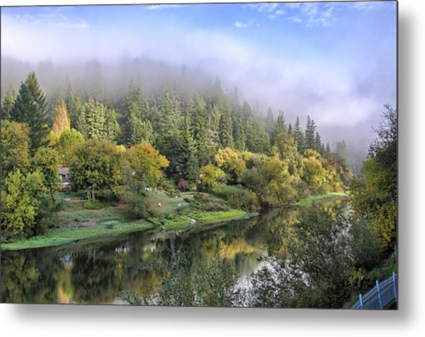 Misty Russian River Metal Print