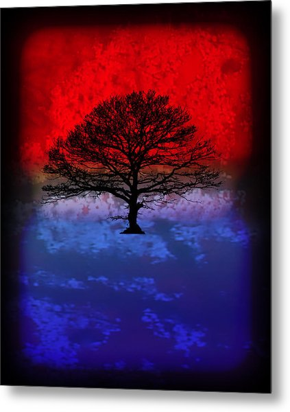 Modern Paintings Abstract Tree Wall Art Metal Print by Robert R Splashy Art