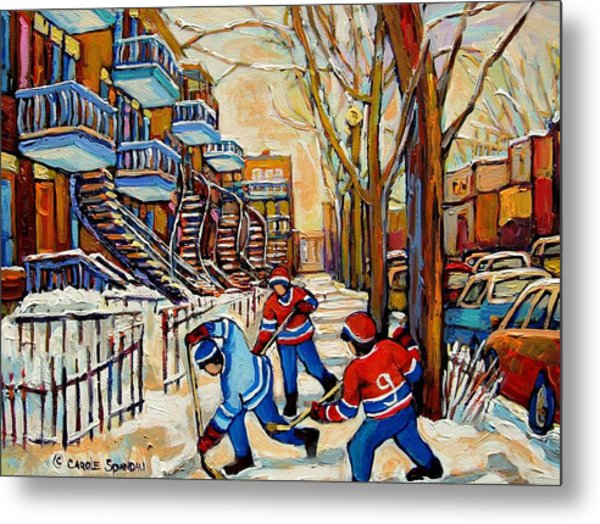 Montreal Hockey Game With 3 Boys Metal Print