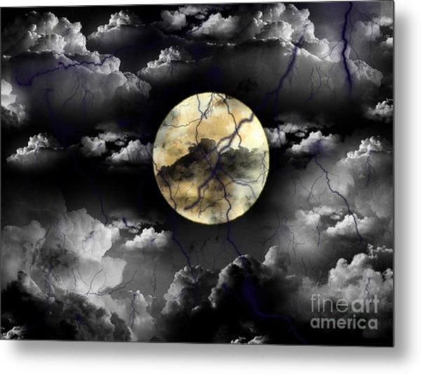 Moon In The Storm Metal Print