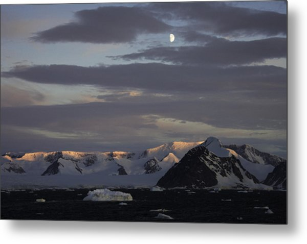 Moon Over Alpine Glow Antarctica Metal Print