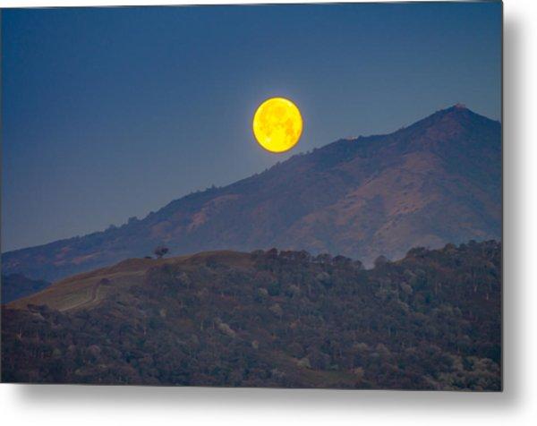 Moon Over Mt Diablo Metal Print
