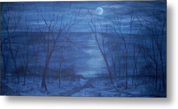 Moonlight On The Water Metal Print by Nora Niles