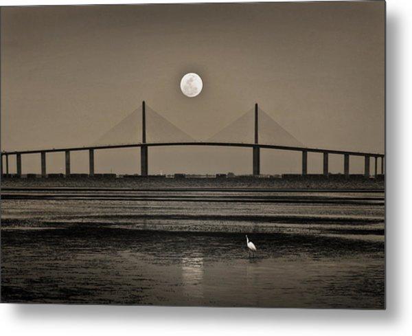 Moonrise Over Skyway Bridge Metal Print