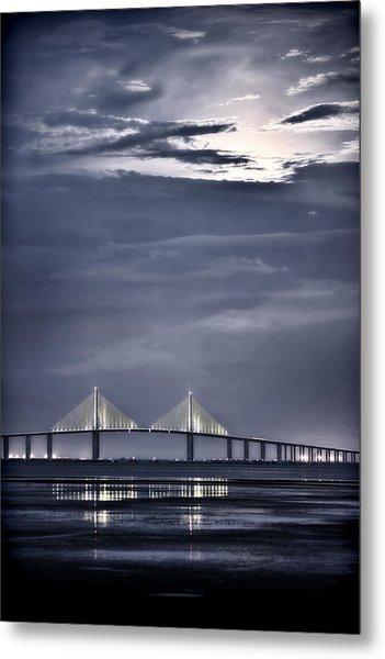 Moonrise Over Sunshine Skyway Bridge Metal Print