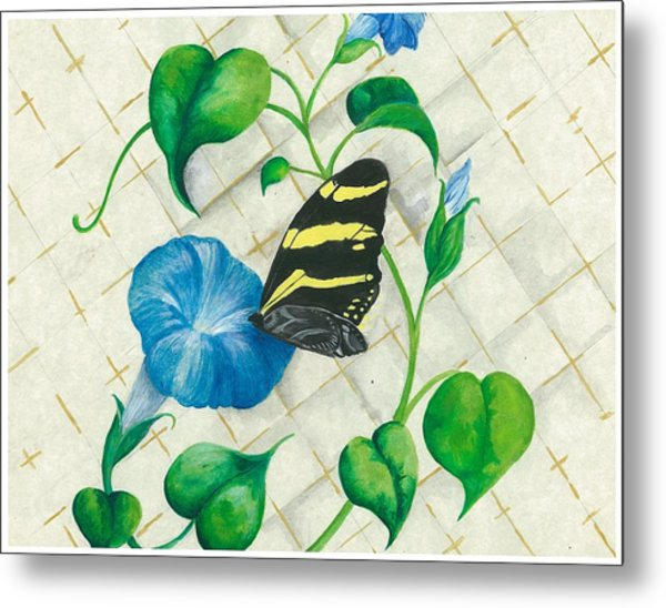 Morning Glories And Butterfly Metal Print by Sally Balfany