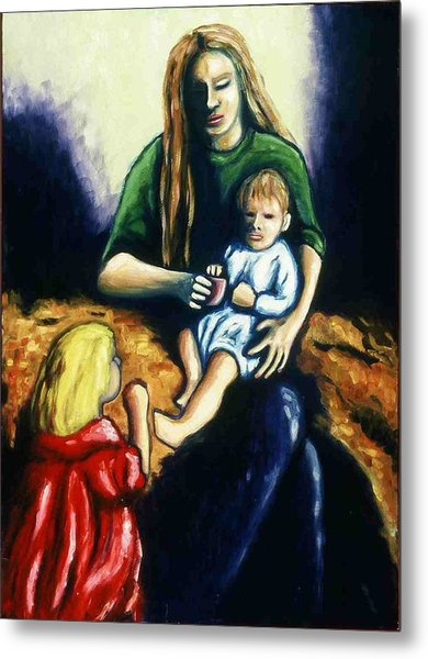 Mother With Children Metal Print by Helen O Hara