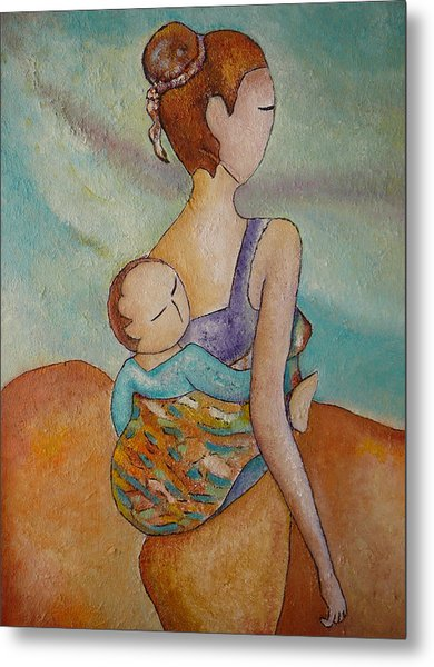 Motherhood Painting Walking With You Original Oil By Gioia Albano Metal Print