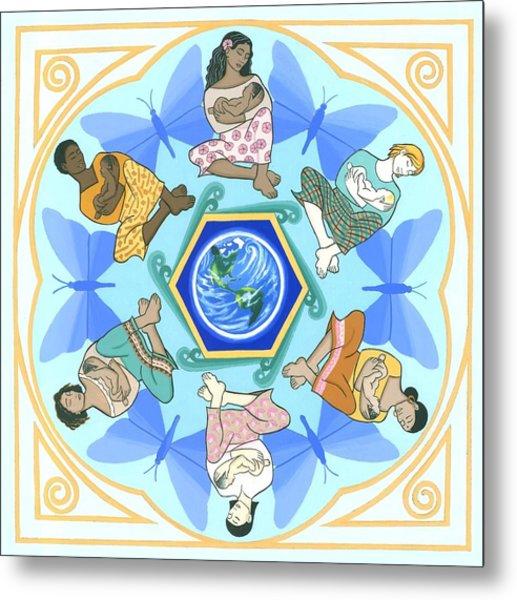 'mothering' Mandala Metal Print by Karen MacKenzie