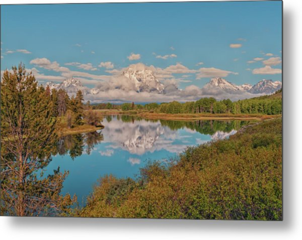 Mount Moran On Oxbow Bend Metal Print