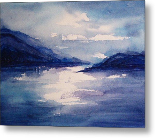 Mountain Lake In Blue Metal Print by Suzanne Krueger