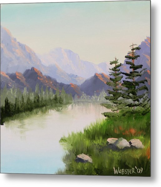 Mountain River Overture Landscape Oil Painting By Northern California Artist Mark Webster  Metal Print by Mark Webster