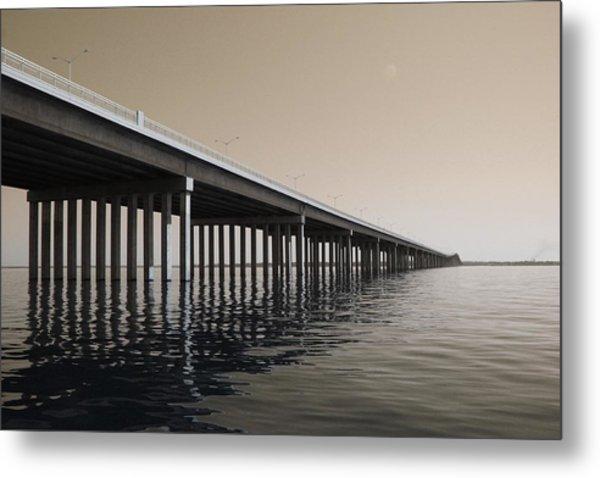 Mprints - Hwy 90 Bridge Metal Print by M  Stuart