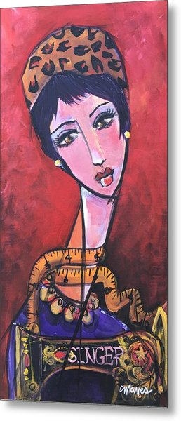 Metal Print featuring the painting Ms. Bimba Fashionable Seamstress by Laurie Maves ART