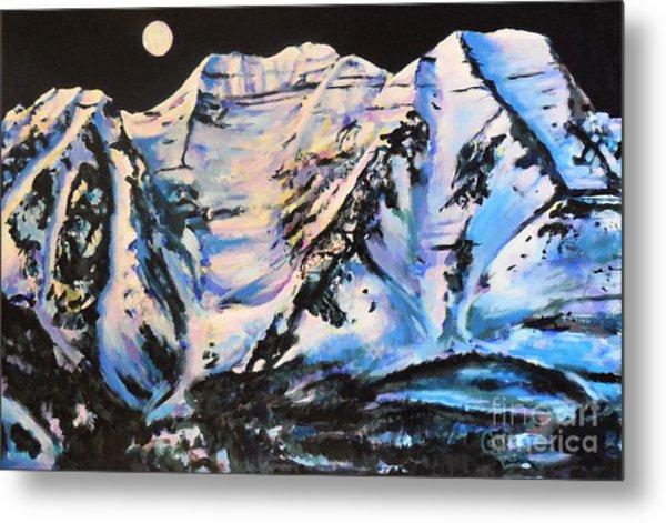 Mt. Timpanogos Under A Full Moon Metal Print