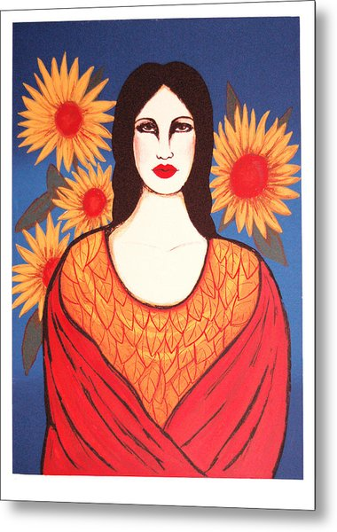 Mujer Con Flores Metal Print by Laura Lopez Cano