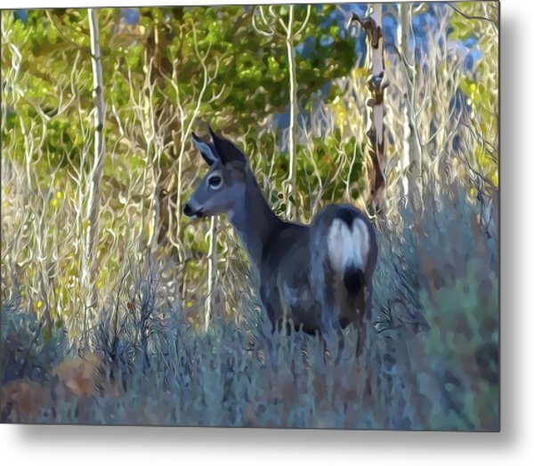 Mule Deer A Stylized Landscape By Frank Lee Hawkins Metal Print