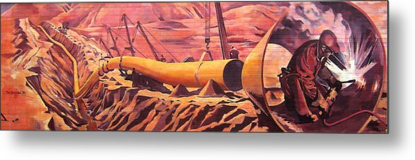 Mural 12x90 Feet Detail Pipeline Metal Print