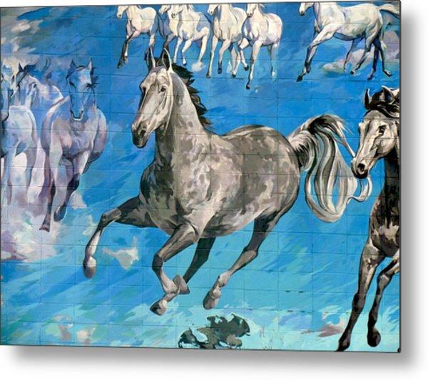 mural detail Equus Descending  Metal Print