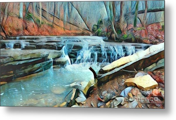 Muscatatuck Falls Touch Of Blue Abstract Metal Print