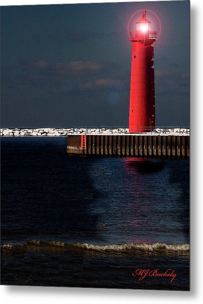 Muskegon Mi Lighthouse Metal Print by Marti Buckely