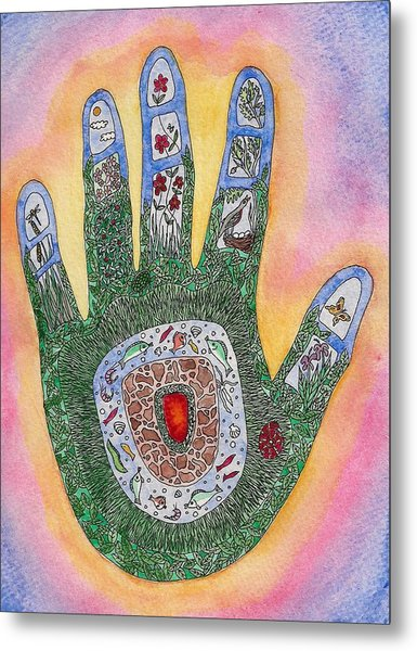 My Handprint On The World Metal Print by Melanie Rochat