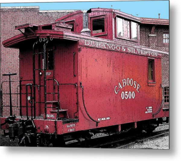 My Little Red Caboose Metal Print