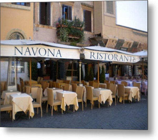Navona Ristorante Metal Print by Nancy Ferrier