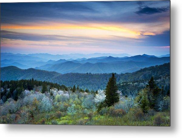 Nc Blue Ridge Parkway Landscape In Spring - Blue Hour Blossoms Metal Print