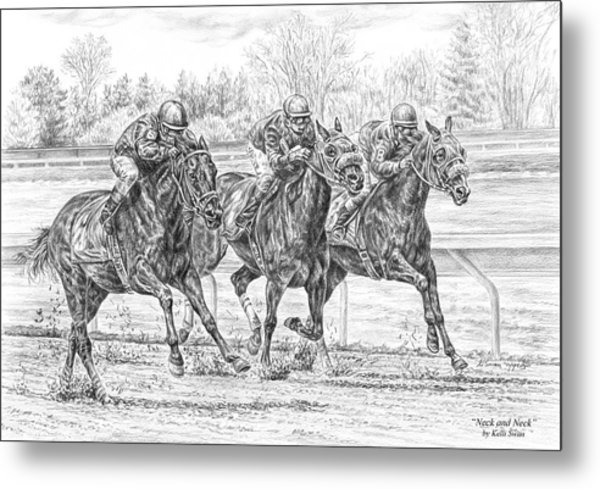 Neck And Neck - Horse Racing Art Print Metal Print