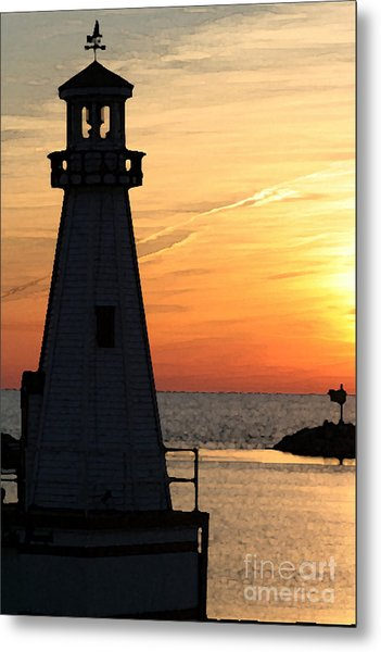 New Buffalo Lighthouse At Sunset Metal Print by Christopher Purcell