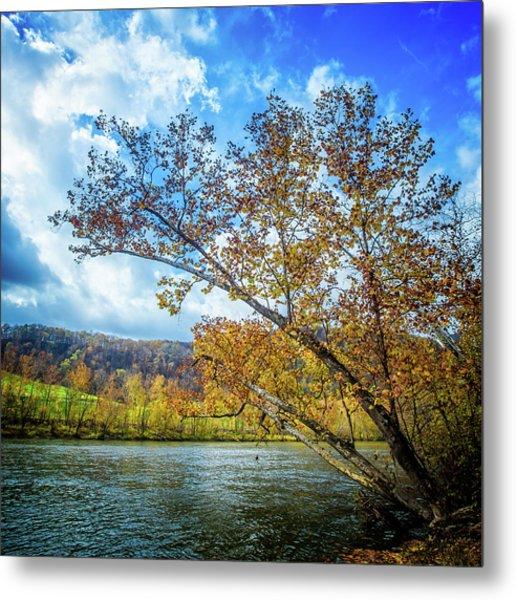 New River In Fall Metal Print