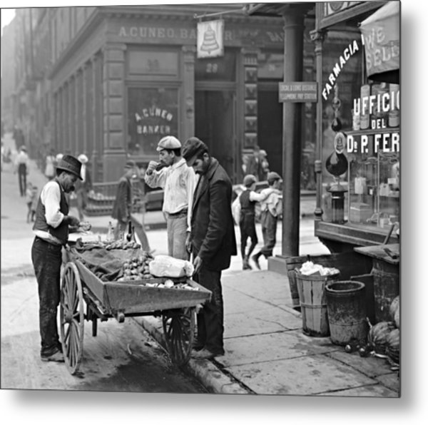 New York Clam Seller In Mulberry Bend 1900 Metal Print