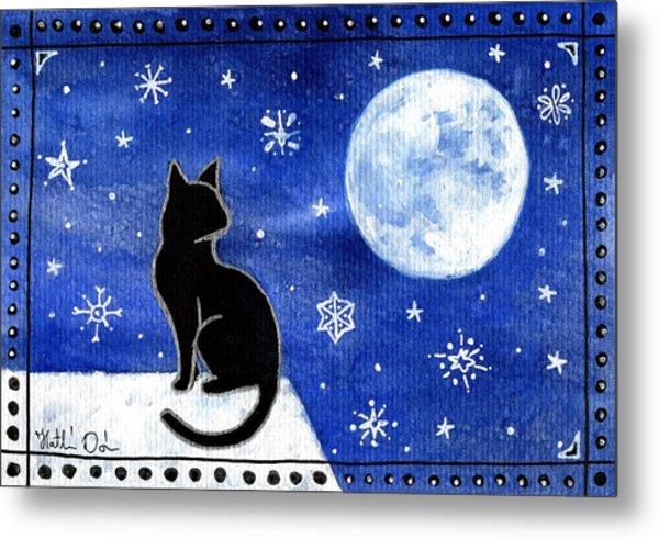 Night Patrol At Wintertime Metal Print