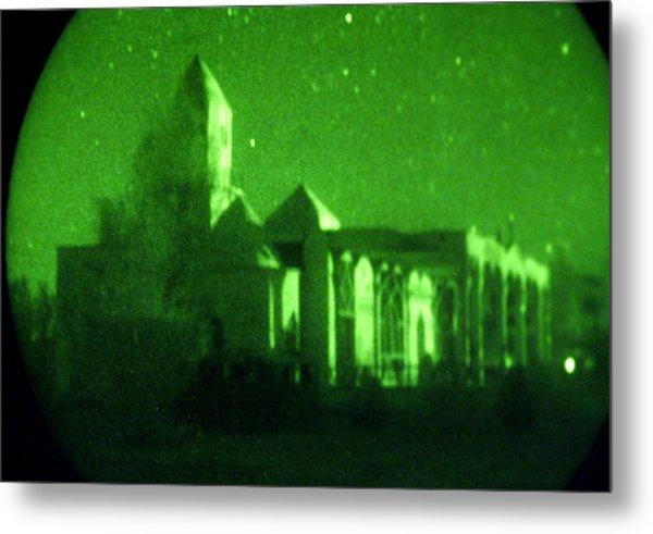 Night Vision Mosque Kandahar Metal Print by Thomas Michael Corcoran