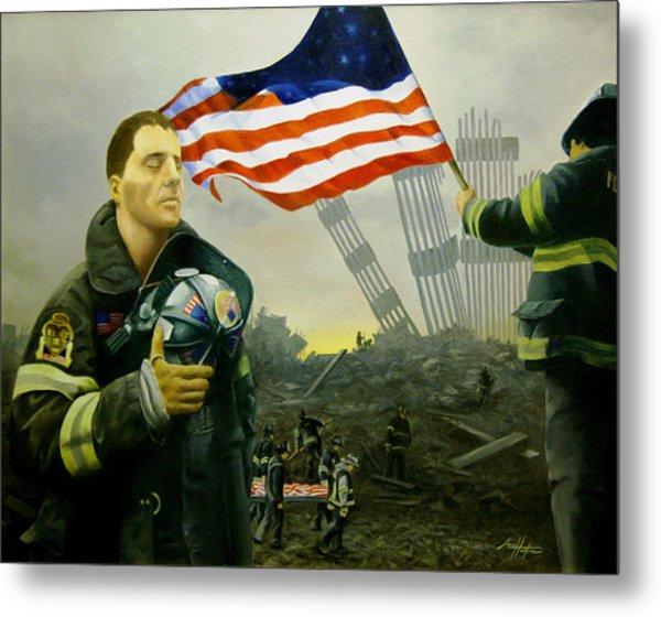 Nine Flags Eleven Fireman One Body Metal Print by Jim Horton
