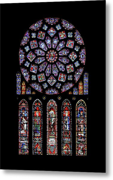 North Rose Window Of Chartres Cathedral Metal Print