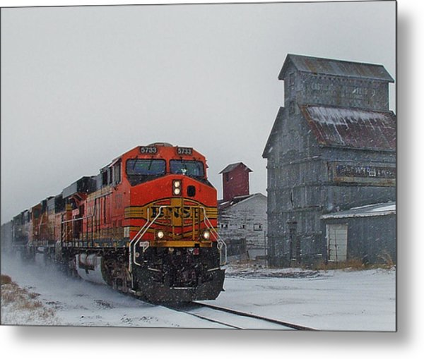 Northbound Winter Coal Drag Metal Print
