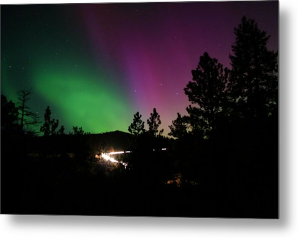 Northern Lights Over Storm Mountain Metal Print