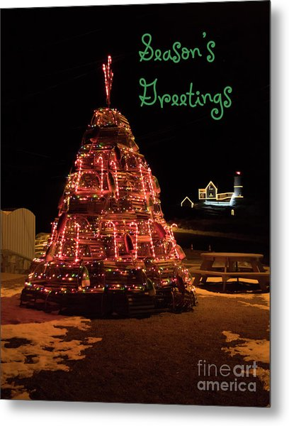 Nubble Light - Season's Greetings Metal Print