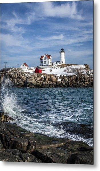 Nubble Lighthouse Winter Metal Print