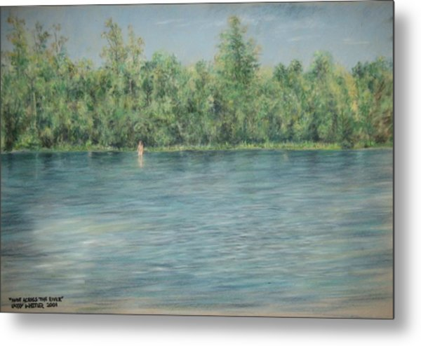 Nude Across The River Metal Print by Larry Whitler