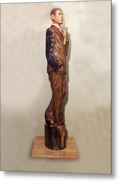 Obama In A Red Oak Log Metal Print by Robert Crowell