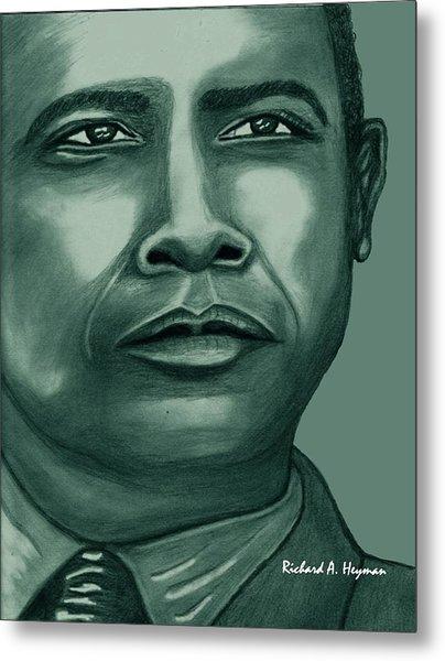 Obama In Bronze Metal Print by Richard Heyman