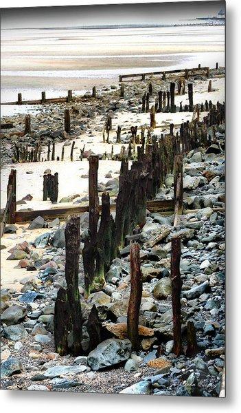 Obsolete Sea Defences At Llanfairfechan Metal Print